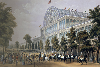 GHL6236 Great Exhibition, 1851: south side of Crystal Palace from near Prince's Gate, engraved by P. Brannon and T.Picken (colour litho); London Metropolitan Archives, City of London;  out of copyright